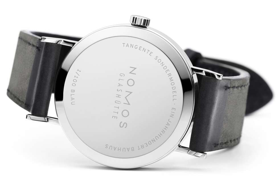Nomos Glashuette Tangente 100 Years Bauhaus Limited Edition Blue Caseback