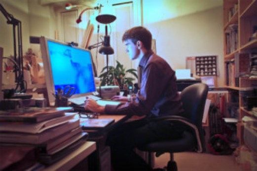man working intently computer home office 300x200 Tips on Working from Home %page