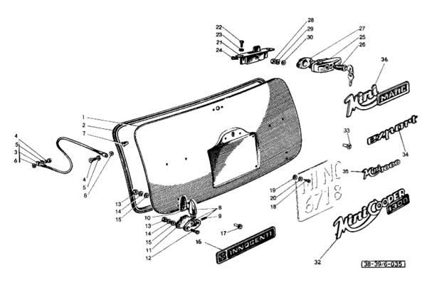L'immagine del cofano posteriore sul Catalogo Ricambi Innocenti Leyland.