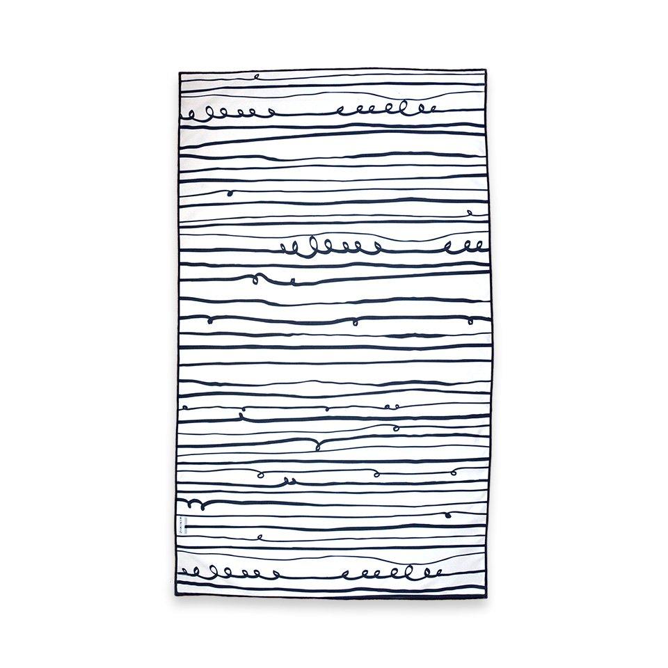 serviette microfibre rayée noir et blanc minimiz stripes enfants plage voyage légère compacte microfibre yoga