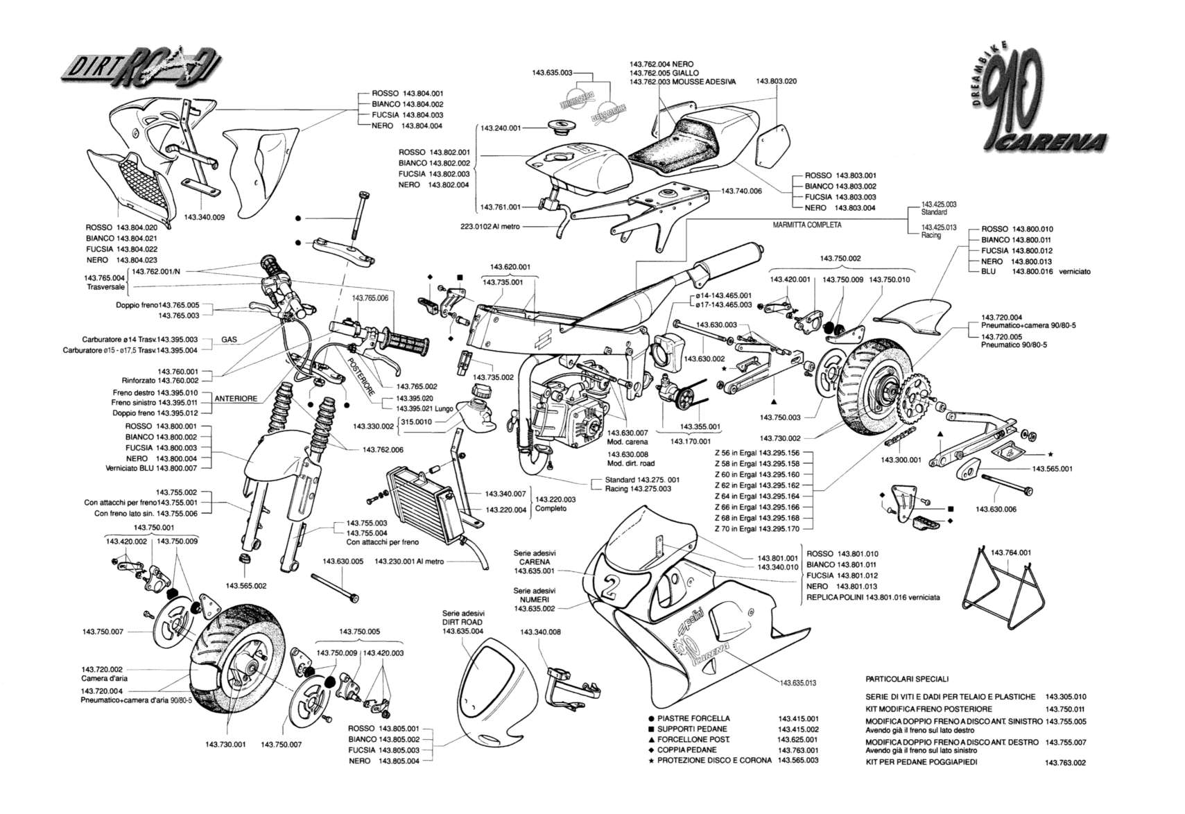 Polini 910 Carena Dirt Road Exploded Diagram