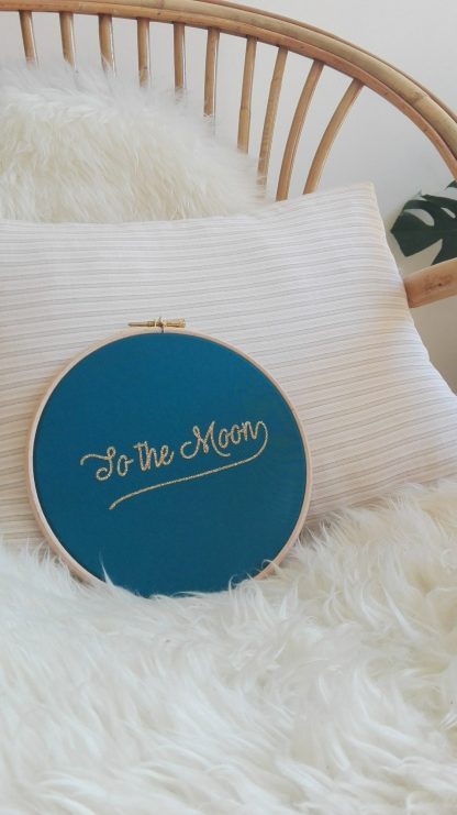 cadre rond bois suspendre tambour to the moon decoration murale silly&billy