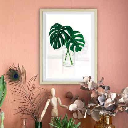 affiche A4 j monstera plantes vertes green lovers illustrations poster decoration murale melanie voituriez
