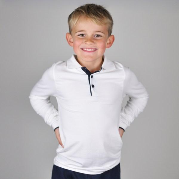 Skjortegenser hvit med mørkeblå