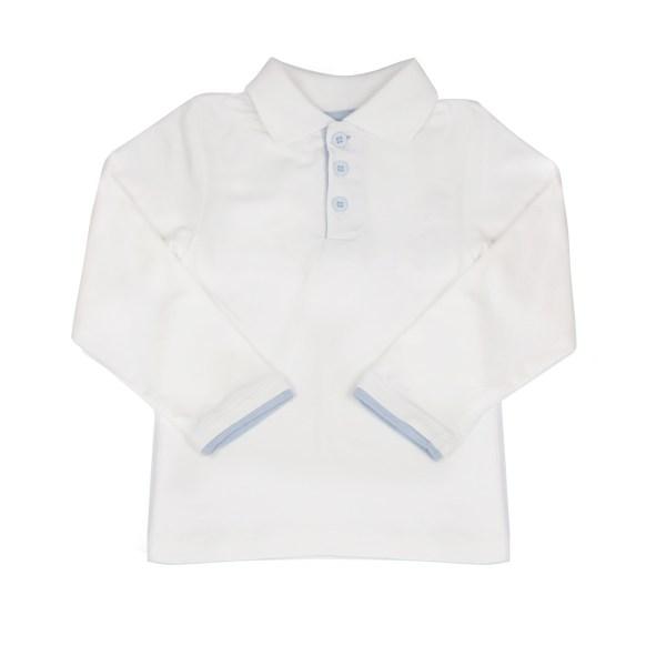 Skjortebody - hvit med lyseblå