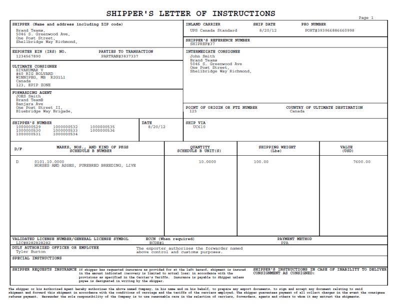 Shipper S Letter Of Instruction D F Poemdocor