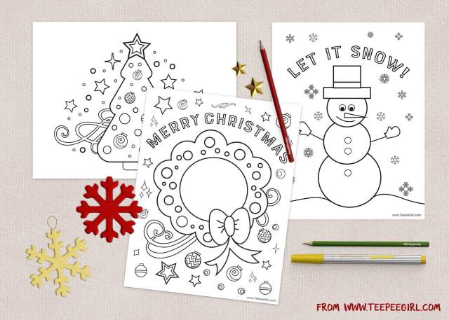 Free Christmas Coloring Pages  www.TeepeeGirl.com