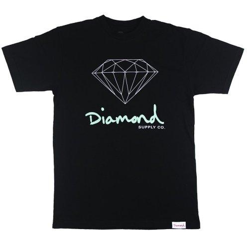 diamond og script tee black