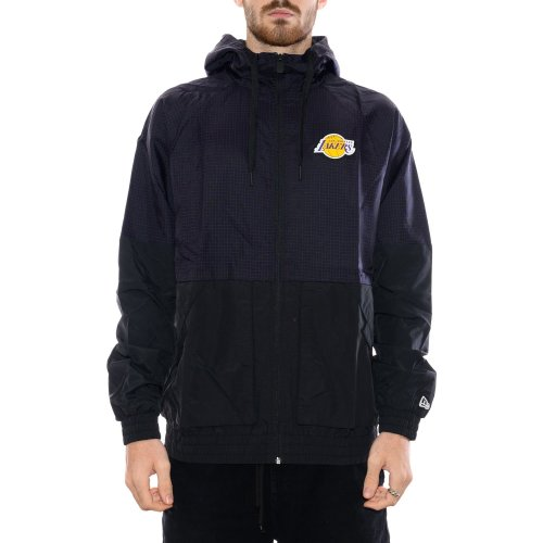 NEW ERA LOS ANGELES LAKERS CHECKERED RIPSTOP WINDBREAKER BLACK