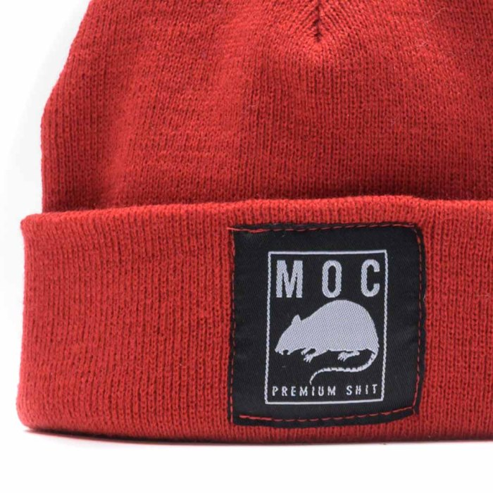 MOC LABEL 1 BEANIE SHORT RED 2