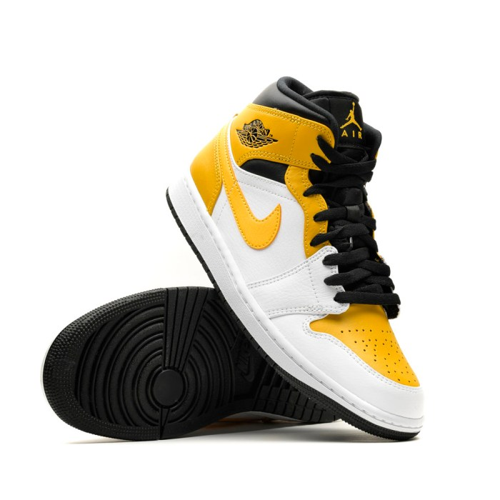 AIR JORDAN 1 MID WHITE UNIVERSITY GOLD BLACK 2