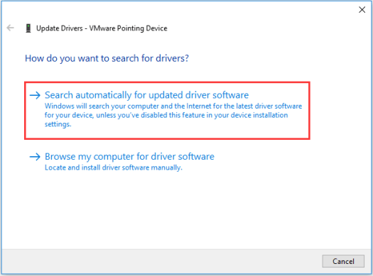 choose Search automatically for updated driver software