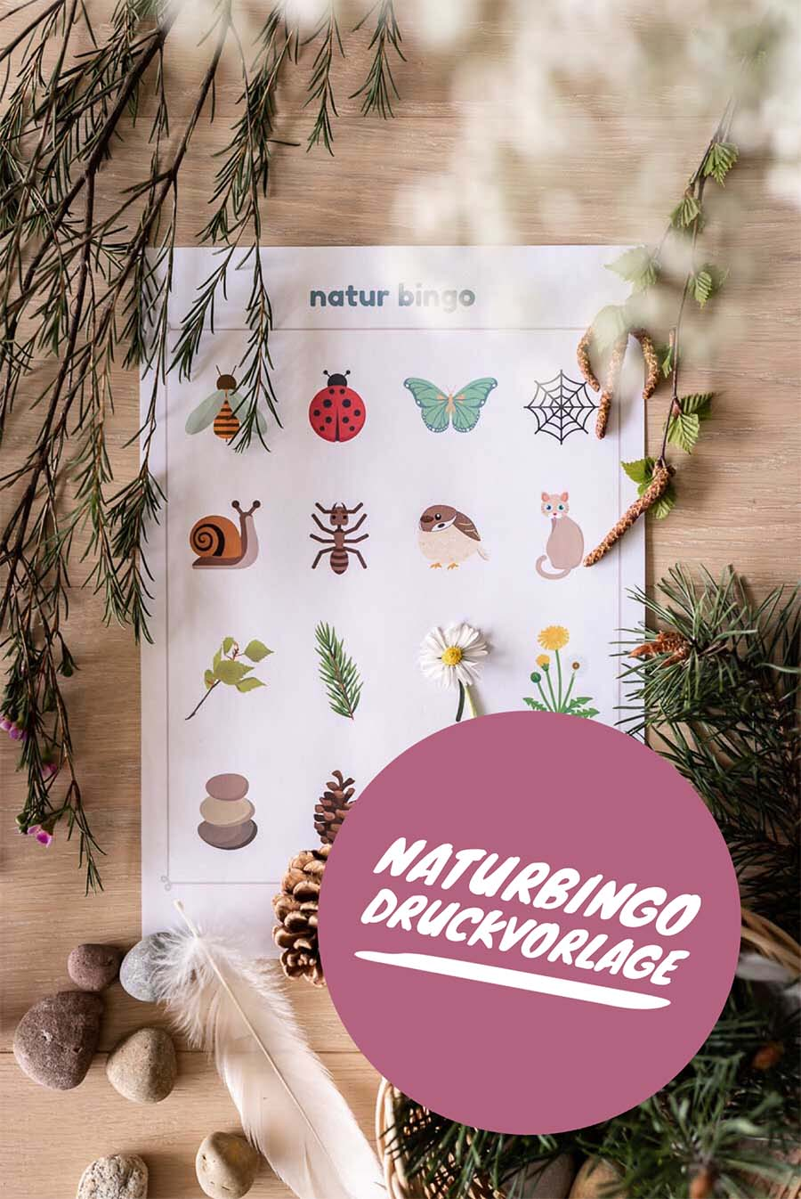 Discover nature with children: Free print templates for a nature bingo #naturbingo #print template