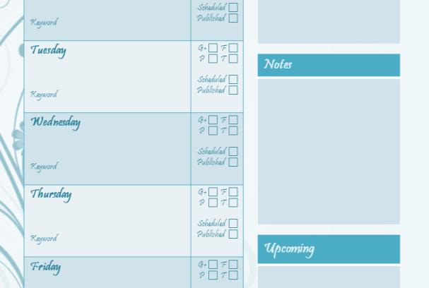 Weekly Blog Planner