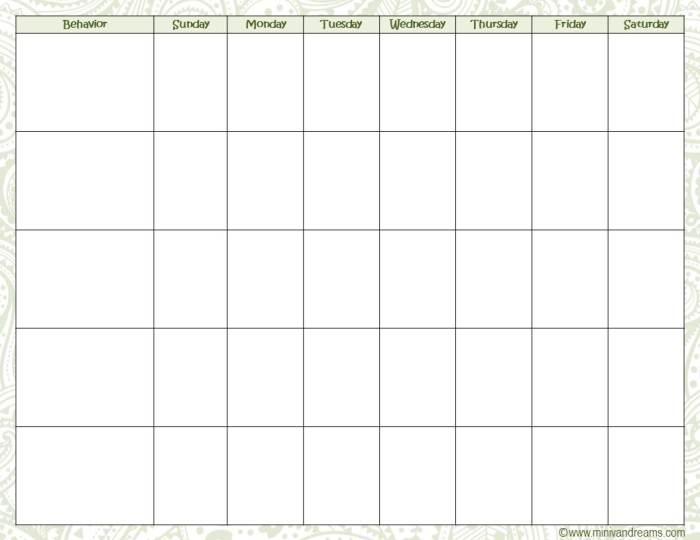 Behavioral Chart Free Printable via Mini Van Dreams