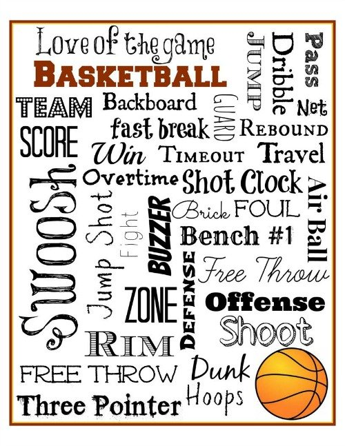 Basketball Subway Art Free Printable via Mini Van Dreams