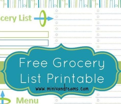 Grocery List and Menu Planner Free Printable via Mini Van Dreams #freeprintables #printables