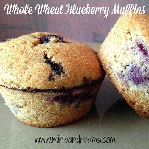 Whole Wheat Blueberry Muffins via Mini Van Dreams #recipes #easyrecipes #recipesforbreakfast