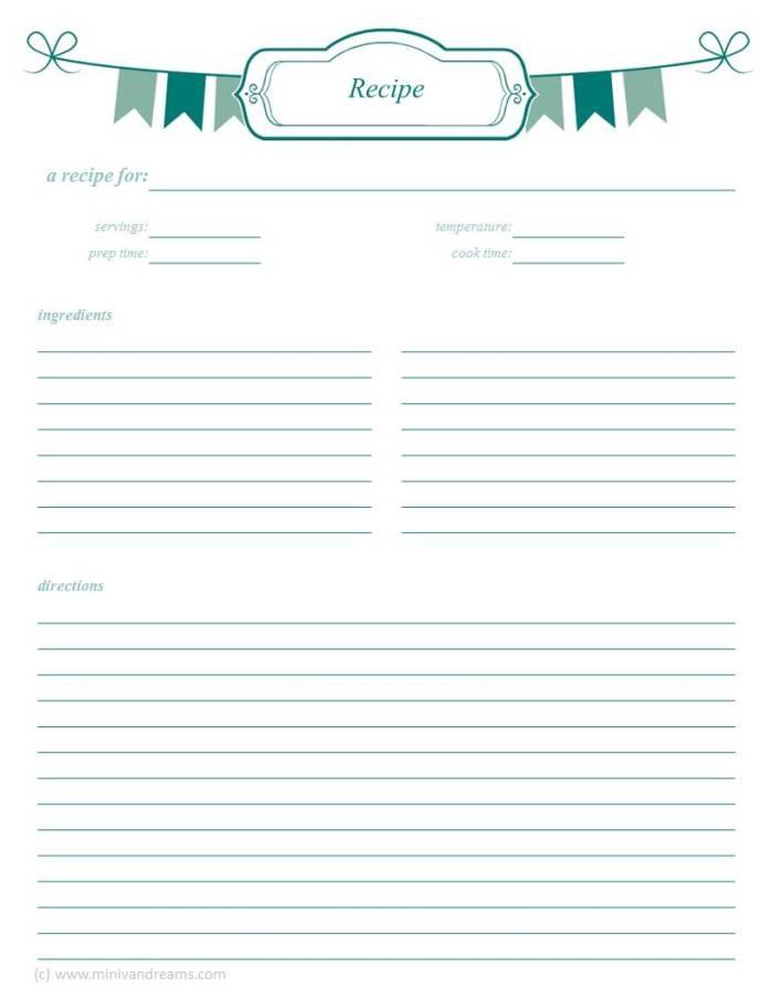 Meal Planning Binder Series: Recipes | Mini Van Dreams #mealplanning #recipes #printables