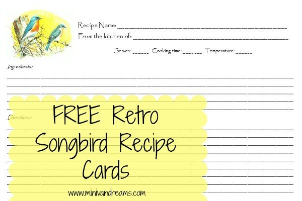 FREE Retro Songbird Recipe Cards | Mini Van Dreams
