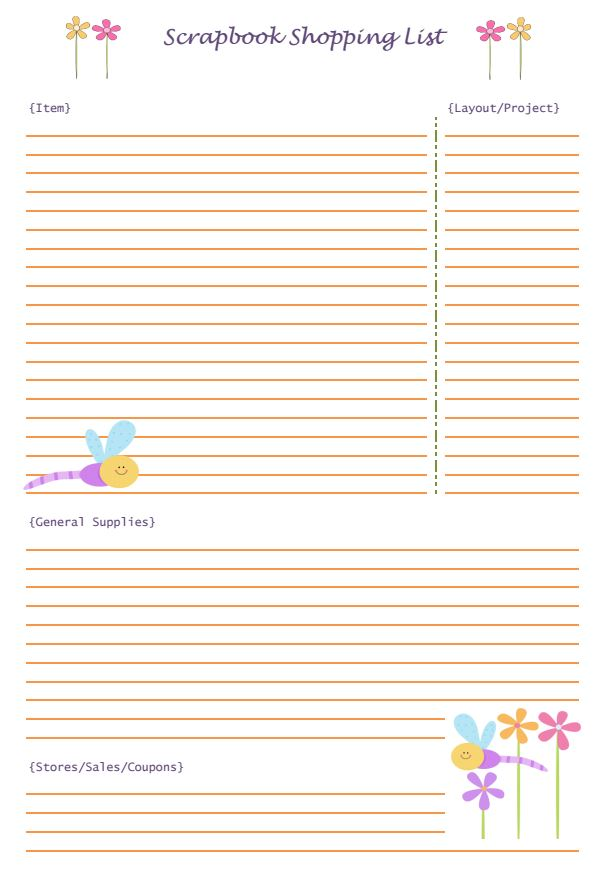 Scrapbooking Shopping List | Mini Van Dreams