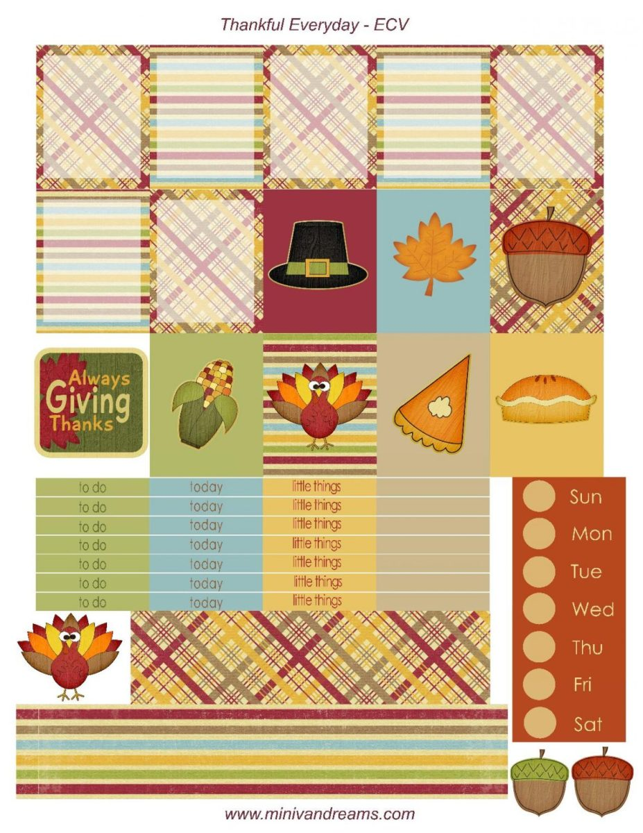 Free Printable Planner Stickers - Thankful Everyday