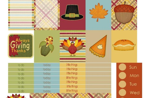Free Printable Planner Stickers - Thankful Everyday | Mini Van Dreams