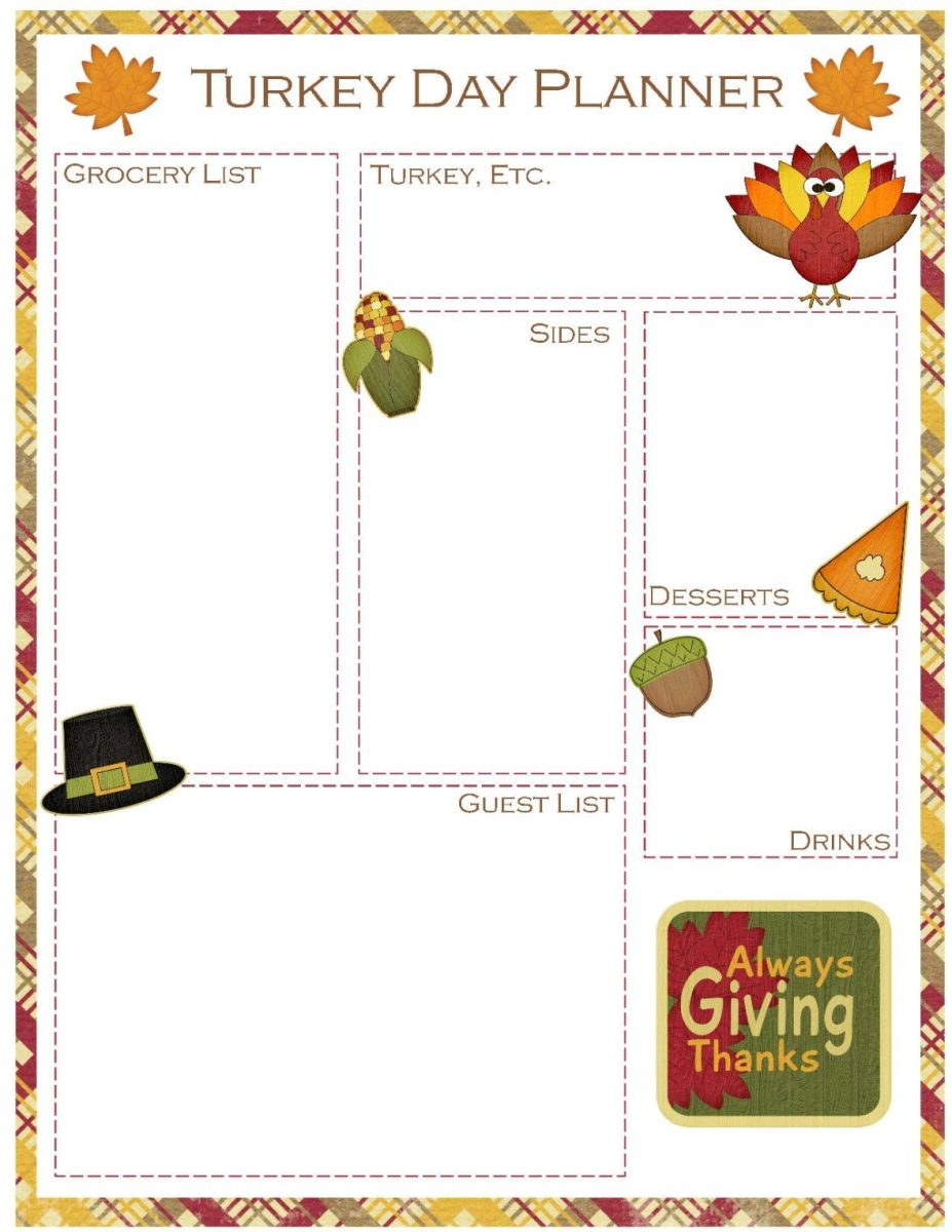 Thanksgiving Meal Planner Free Printable