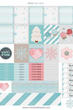 Free Printable Planner Stickers: Winter Fun   Mini Van Dreams