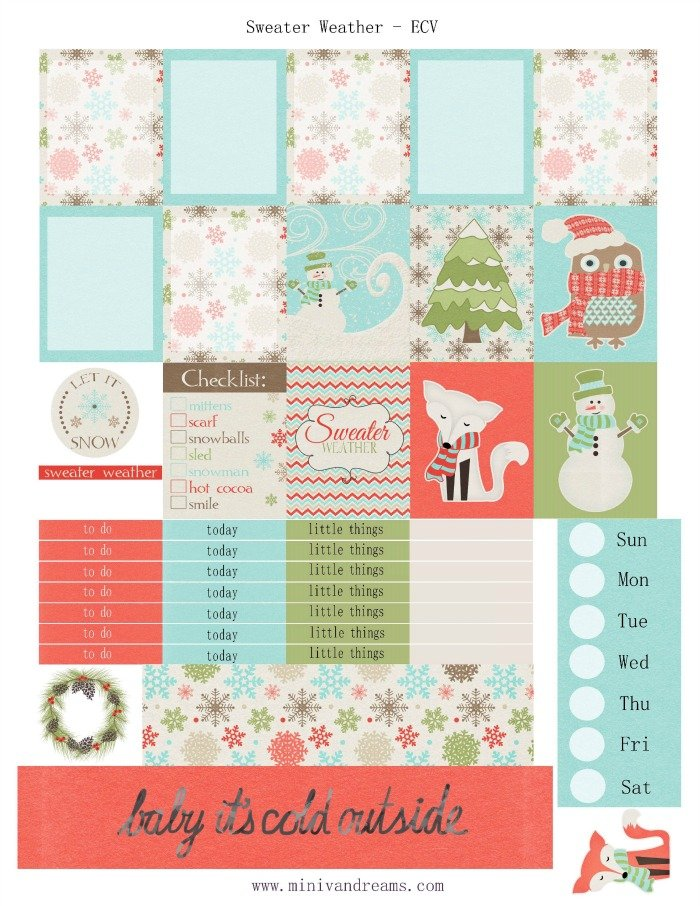 Free Printable Planner Stickers: Sweater Weather