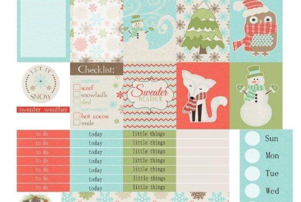 Free Printable Planner Stickers: Sweater Weather   Mini Van Dreams