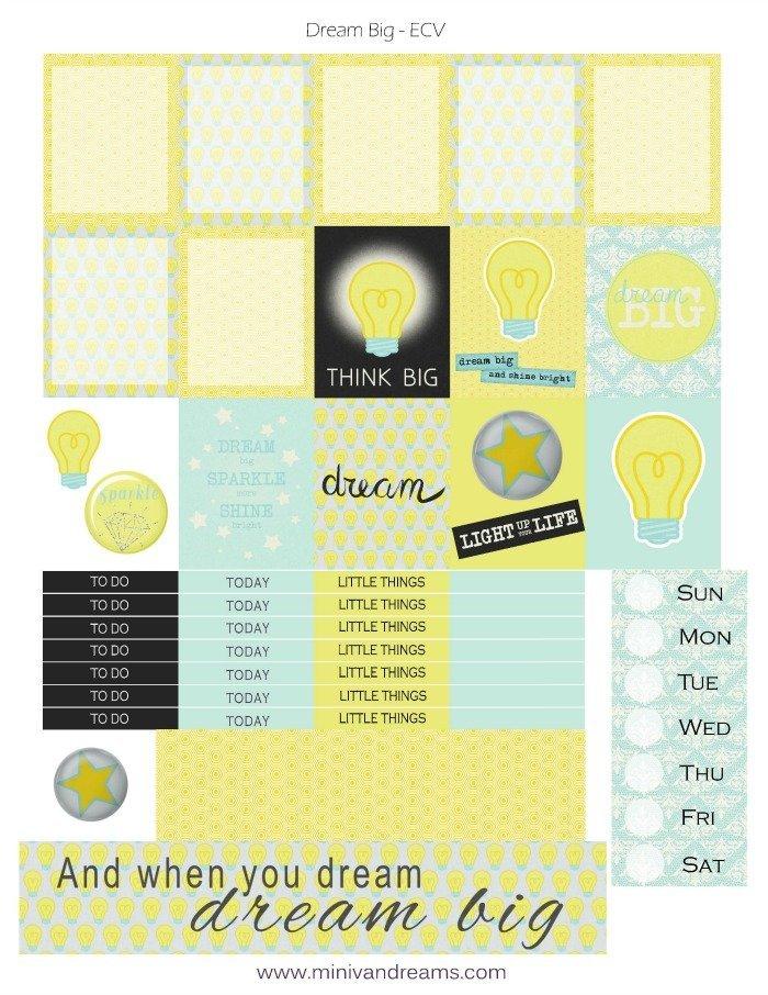 Free Printable Planner Stickers: Dream Big   Mini Van Dreams