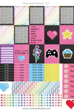 Free Printable Planner Stickers: Video Game Valentine | Mini Van Dreams