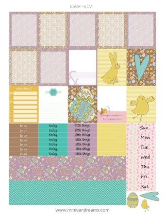 Free Printable Planner Stickers - Easter (HP & ECV) | Mini Van Dreams