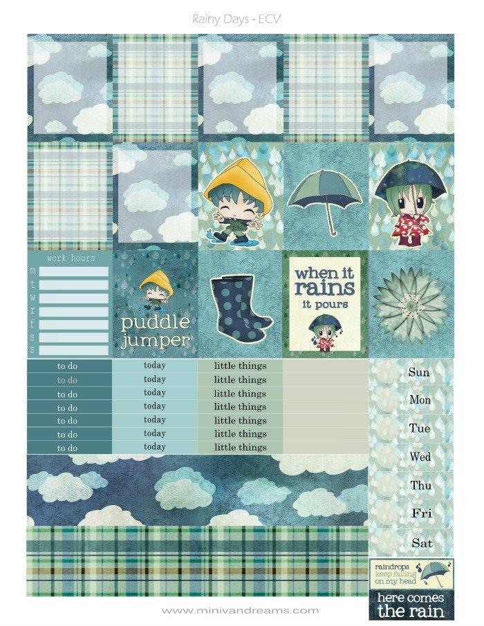 Free Printable Planner Stickers Rainy Days Mini Van Dreams