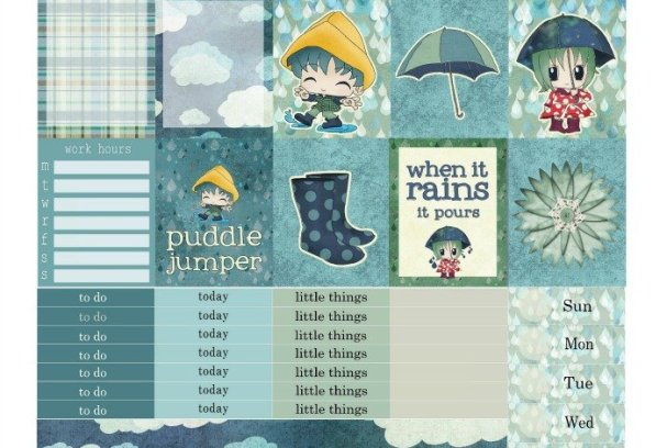 Free Printable Planner Stickers: Rainy Day | Mini Van Dreams