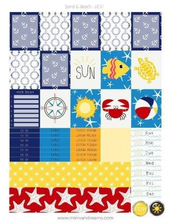 Free Printable Planner Stickers: Sand & Beach | Mini Van Dreams