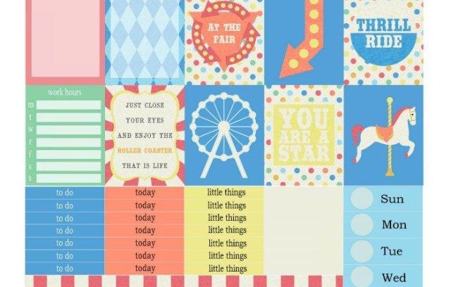 Free Printable Planner Stickers: At the Fair | Mini Van Dreams