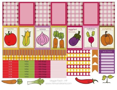 Free Printable Planner Stickers: Veggie Patch   Mini Van Dreams