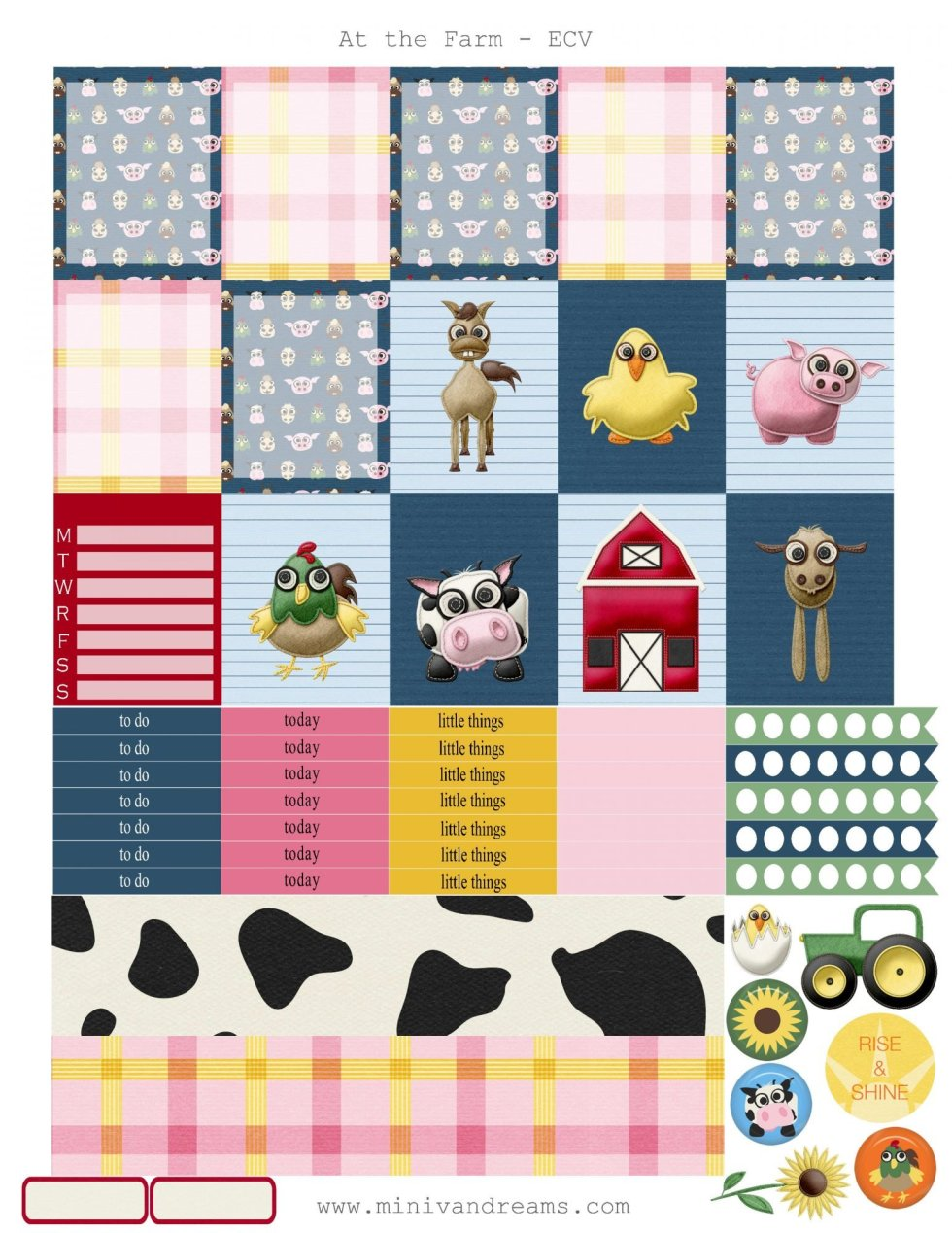 Free Printable Planner Stickers: At the Farm