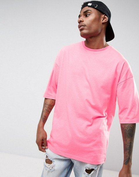 ASOS Oversized T-Shirt With Half Sleeve In Neon Pink