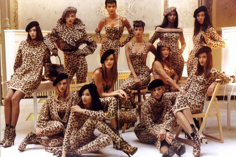 MODELS IN AZZEDINE ALAÏA LEOPARD COLLECTION, FALLWINTER 1991