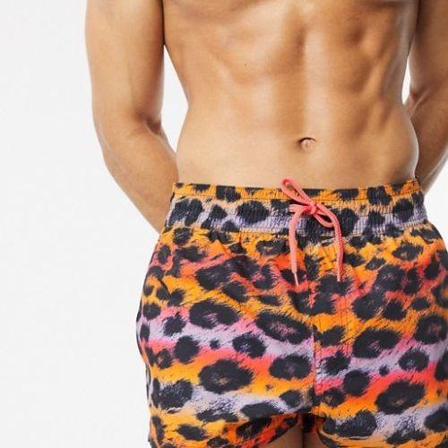 Cute swimsuits ASOS DESIGN swim shorts in multicoloured leopard print in super short length CREDIT ASOS