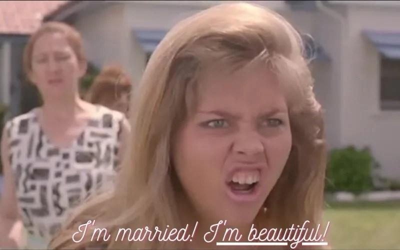 Monogamy mononormativity I'm married! I'm beautiful! CREDIT 'Muriel's Wedding' (1994) © Miramax
