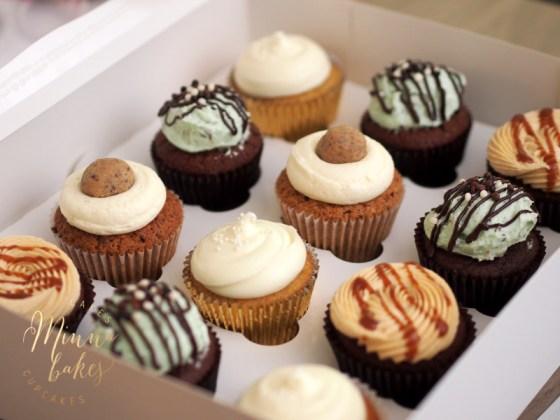 Banana Bliss, Cookie Dough, Mint Chocolate Chip, Chocolate Salted Caramel Cupcake