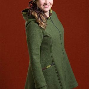 Vihreä naisten villakangastakki