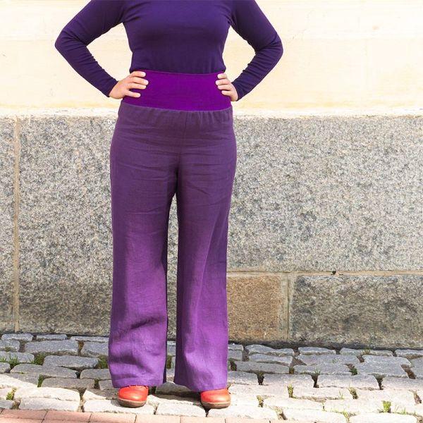 Violetit pellavahousut joustavalla resorivyötäröllä