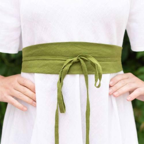 Vihreä solmittava pellavavyö