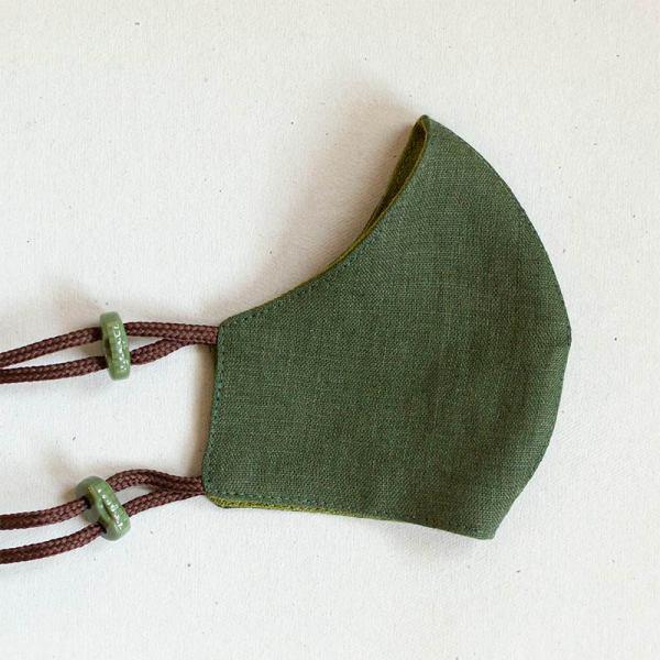 Pellavamaski stopparikiinnityksellä, vihreän sävyt