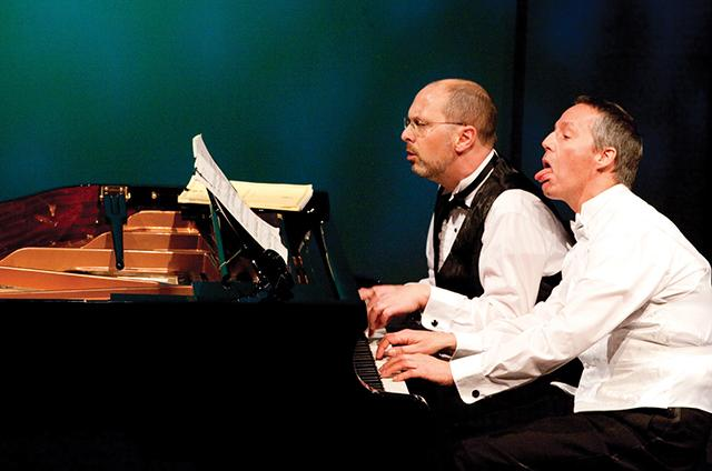 Michael Pearce Donley and Peter Vitale in Park Square Theatre's '2 Pianos 4 Hand